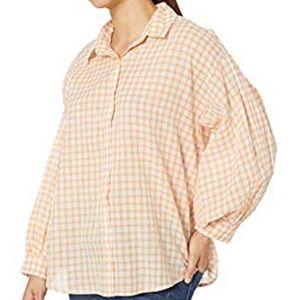 Nine West wren long sleeve peach bloom sheer shirt